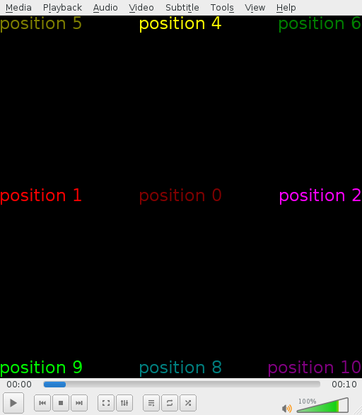 Marq can be chained, allowing several marquees to be displayed at the same time. Nine positions and text colours are shown against a black background.